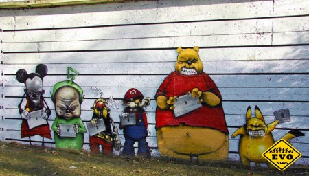 Лучший стрит-арт за апрель 2012 (Интересные граффити)