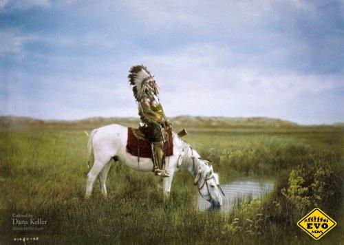 Индеец племенной группы сиу на коне, 1905 год