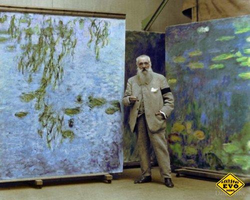 Клод Моне на фоне своих картин, 1923 год (уникальное фото)