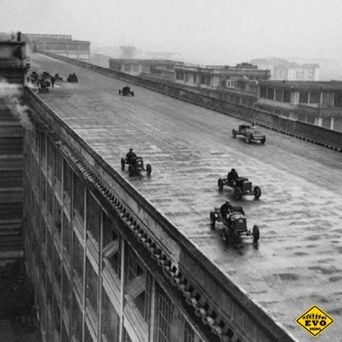 Рабочие Фиата участвуют в гонке на крыше завода, 1923 год