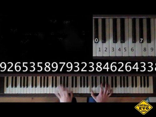 Число Пи сиграное на клавишах пианино