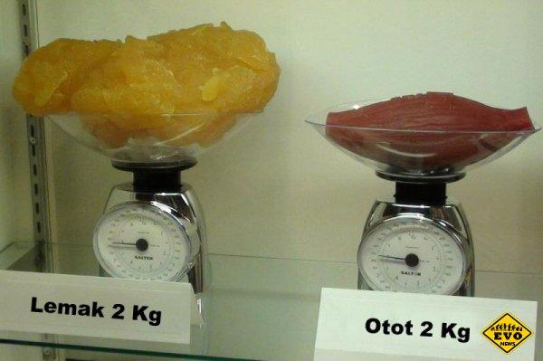 Обьемы: 2 килограмма жира против 2 килограммов мышц