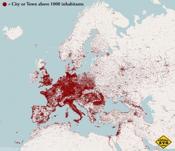 Каждая точка – город с населением больше 1000 человек
