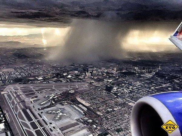 Дождь с борта самолета