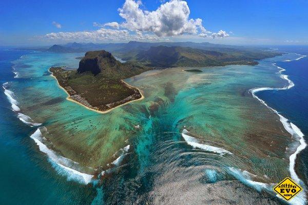 Оптическая иллюзия подводного водопада, Маврикий